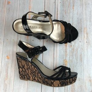 Anne Klein iFlex Black Lace Wedges